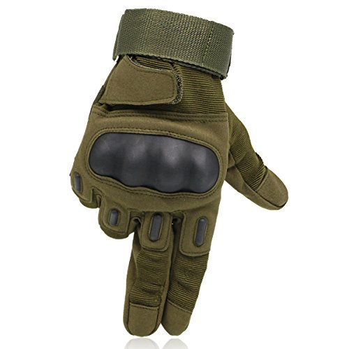 OMGAI Men's Full Finger Military Tactical Gloves for Airsoft Paintball Motorcycle Outdoor Sports Army Green, L