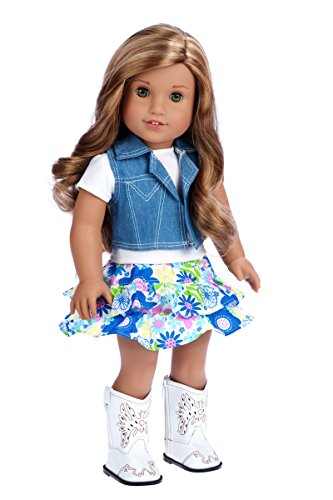 DreamWorld Collections - Feeling Happy - 4 Piece Outfit - Skirt, White T-Shirt, Blue Jeans Vest and White Cowgirl Boots - Clothes Fits 18 Inch American Girl Doll (Doll Not Included) -