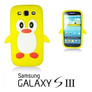 OnlineBestDigital - Penguin Style Soft Silicone Case for Samsung Galaxy S3 III I9300 - Yellow with 3 Screen Protectors and Stylus