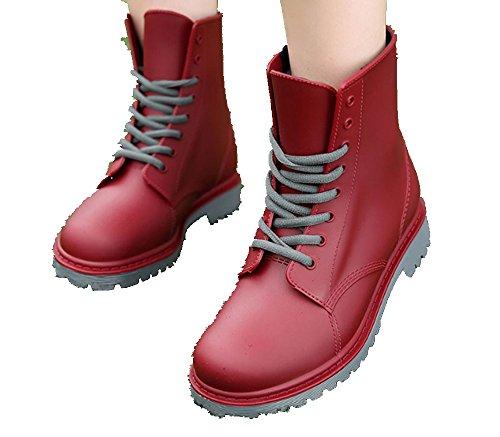 x96E8;x978B; - Escarpines de Caucho para Mujer Rojo