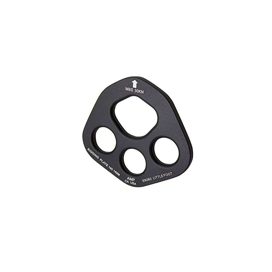 Fusion Climb Aluminum Little Foot 4 Hole Rigging Plate Descender Black