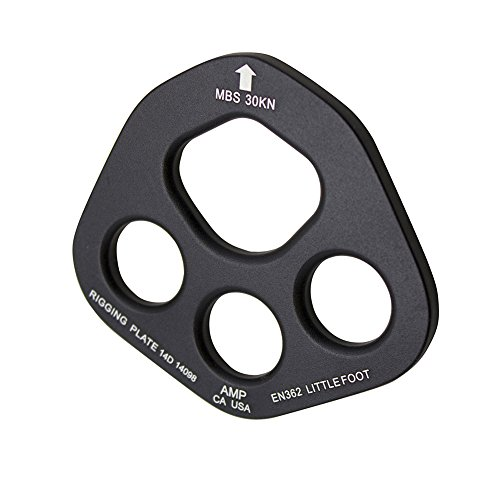 Fusion Climb Aluminum Little Foot 4 Hole Rigging Plate Descender Black