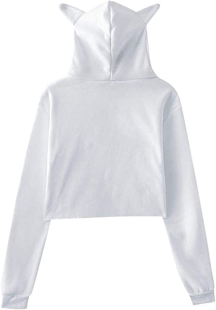 Hoodies for Women,Womens Winter Personality Cat Ears Lumbar Loose Fleece Hooded Sweatshirt