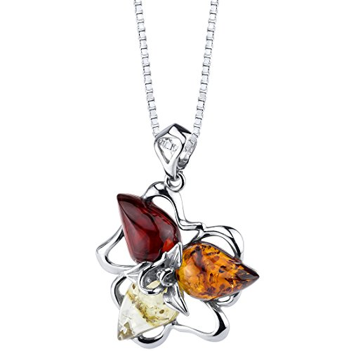 Sterling Silver Brown Resin (Baltic Amber Star Leaf Pendant Necklace Sterling Silver Multiple Colors)