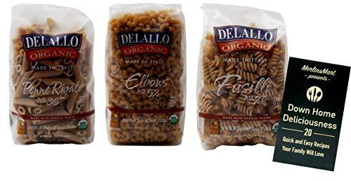 DeLallo Organic Imported Whole Wheat Italian Pasta 3 Shape Variety Plus Recipe Booklet Bundle, (1) each: Penne Rigate, Elbows, Fusilli (16 Ounces) ()