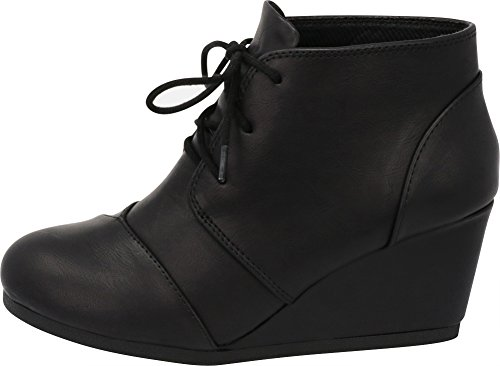 Cambridge Select Women's Lace up Wedge Heel Ankle Bootie (9 B(M) US, Black PU) by Cambridge Select (Image #7)