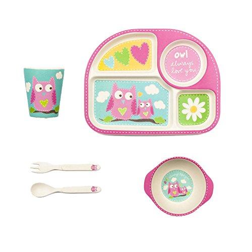(Bamboozle Tiny Footprints Olivia Owl Dinner Set, 24 Piece)