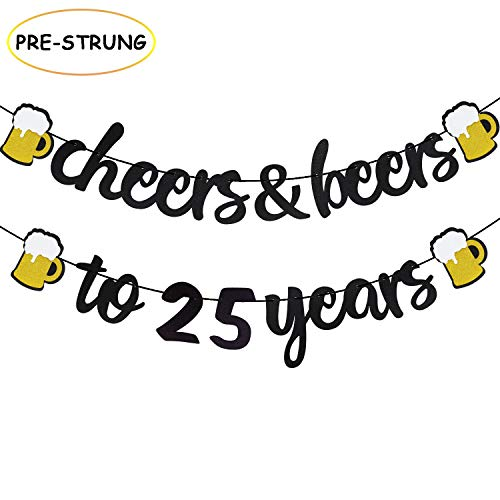 25th Birthday Decorations Cheers and Beers to 25 Years Banner Black Glitter Happy Birthday Wedding Anniversary Party Supplies