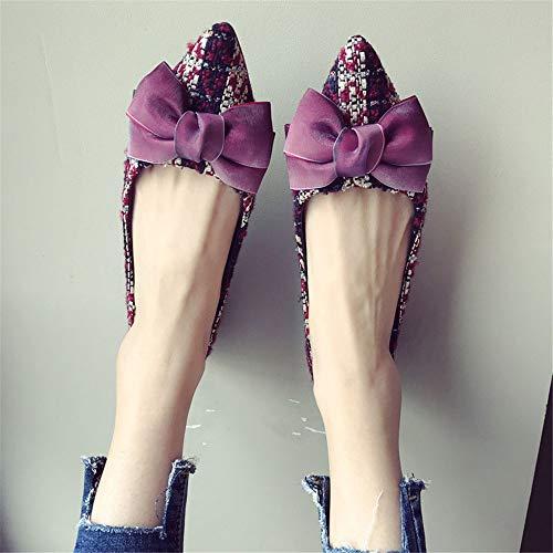 de Embarazada Zapatos y 39 Verano Arco Solos Planos señaló Zapatos Plaid UE Superficial Primavera 40 Dulce Zapatos Trabajo Mujer de EU Zapatos Zapatos de FLYRCX Moda tSWqwxZaqU