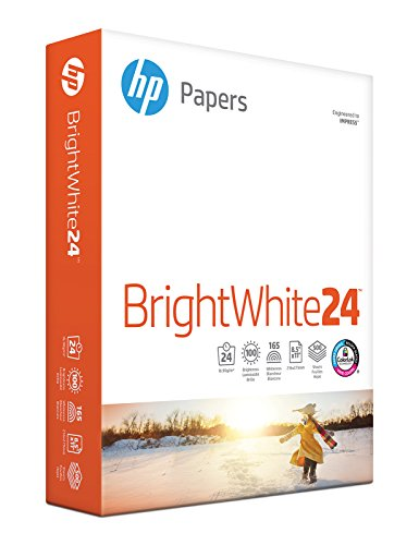 Office Products : HP Printer Paper, BrightWhite24, 8.5 x 11, Letter, 24lb, 97 Bright, 500 Sheets / 1 Ream (203000R), Made In The USA