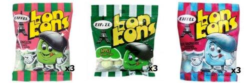 Eiffel Bon Bons 1.25oz 9 Bag Variety Pack - Watermelon, Blue Raspberry, & Apple ()