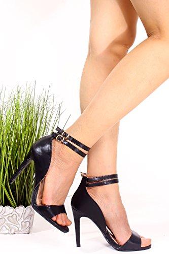 Elegante Pu Lettera Open Toe Due Cinturino Alla Caviglia Con Fibbia Accento Stiletto Scarpe Tacco Alto Nero