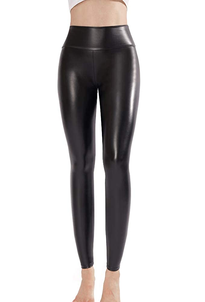 4ed64b1238453e Ginasy Black Faux Leather Leggings Pants, Stretchy High Waisted Tights for  Women at Amazon Women's Clothing store: