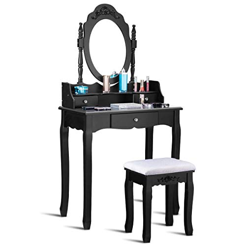 (Casart Vanity Table Set with Mirror and Stool for Bedroom Modern Wood Style Cushioned Bench Oval Mirrored Multifunctional Top Removable Writing Desk Dressing Tables for Girls)