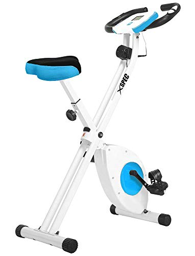 Xspec Foldable Stationary Upright Exercise Bike w/Heart Rate 8-Level Magnetic Resistance LCD Monitor Adjustable Cardio Workout Indoor Cycling (Best Folding Exercise Bike For Short Person)