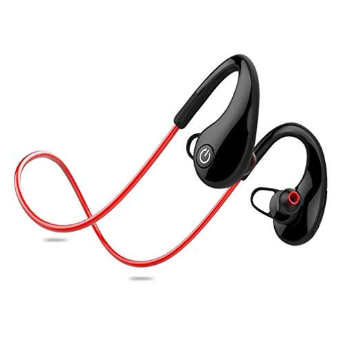 Running Headphones, Waterproof Bluetooth 4.1 with EDR Running on-Ear Headsets, Noise Cancelling and Secure fit for Gym Cycling Workout with Mic for Samsung, iPhone, LG, Sony. (Red)