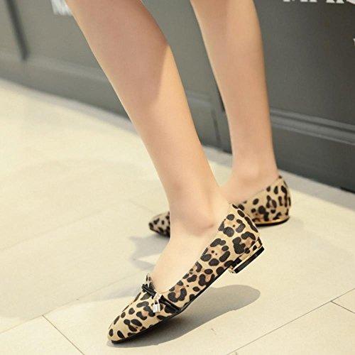 Moda Zapatos Bombas Albaricoque Leopardo Plano Mujer Comodo COOLCEPT fq5wz4p