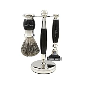 Edwin Jagger Shaving Gift Set - Pure Badger Shaving Brush, Gillette Mach 3 Razor & Stand, Imitation Ebony