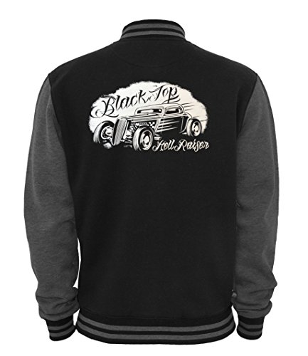 Ethno Designs - Black Top Hell Raiser - Womens & Mens Hot Rod Varsity Jacket - Old School Rockabilly Retro Style, black/charcoal, size M by Ethno Designs