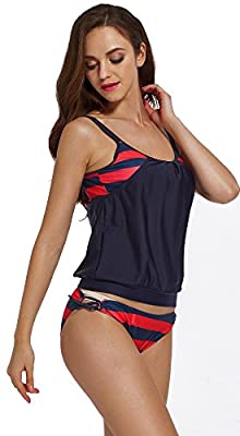 BESUMA Womens Stripes Lined Up Double Up Tankini Top Sets Swimwear