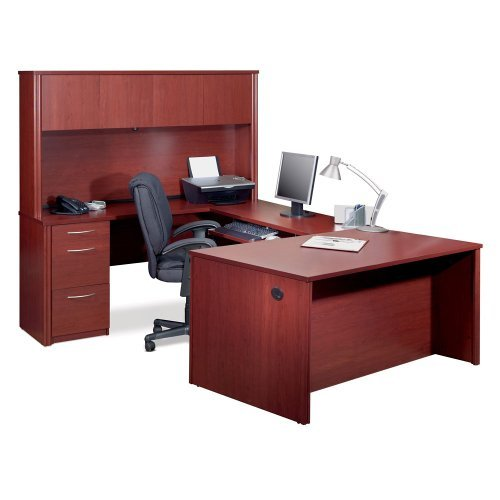 Bestar Office Furniture Embassy Collection U-Desk with Hutch, Tuscany Brown