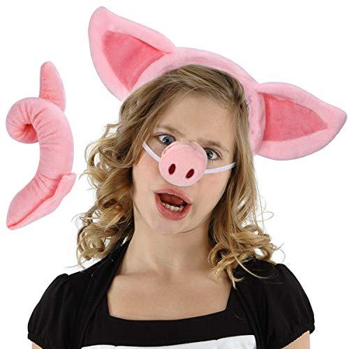 Animal Costume Set - Pig Ears Nose Tail Set - Animal Fancy Dress Costume Kit Accessories