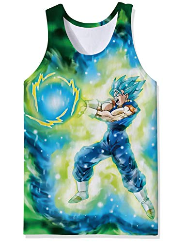 OPCOLV Trendy Sports Gym Trainer Tank Tops Muscle Men Dragon Ball Z Manga Otaku Anime Cool FUUNY Vest for Party Raves ()