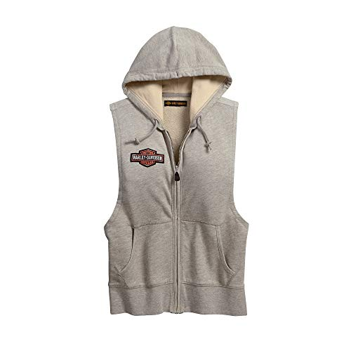 (Harley-Davidson Official Women's Studded Sleeveless Hoodie, Grey (X-Large))