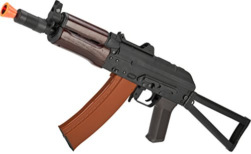 Evike - CYMA Stamped Metal AK74U w/Folding Stock Airsoft AEG Rifle - Wood Furniture