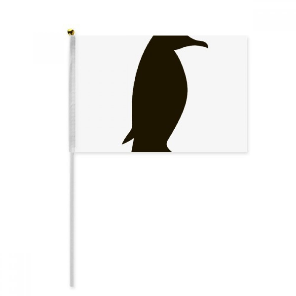 Black Penguin Animal Portrayal Hand Waving Flag 8x5 inch Polyester Sport Event Procession Parade 4pcs