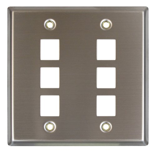 Allen Tel Products ATBKDVF-6 Double Gang, 6 Ports Versatap Faceplate, Stainless Steel