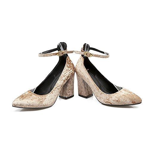 Alto Flats Punta Ballet Mucca A Fibbia Pelle Scarpe Puro Tacco di Albicocca VogueZone009 Donna ZwxzqC7UW