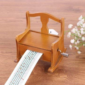 15 Tone DIY Cranked Wooden Chair Music Box With Hole Puncher Paper Tapes - Musical Instruments Music Box - 1 X Music Box, 1 X Puncher, 3 X Paper Tape(2blank paper,1punched paper)]()