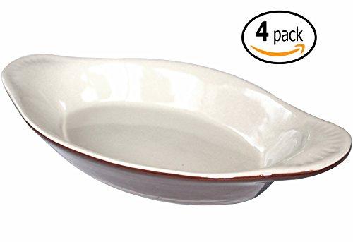 Au Gratin Pan - Ceramic Oval Rarebit / Au Gratin Baking Dish with Dish-pan Scraper, 15 Ounce, Set of 4, Brown and Bone White