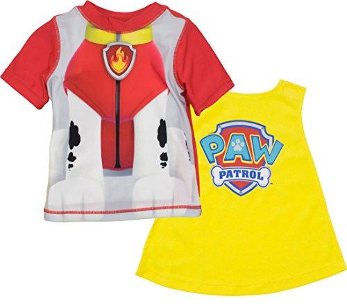 Nickelodeon Paw Patrol Marshall Toddler Boys Swim Rash Guard T-Shirt and Caped Towel Set (2T)