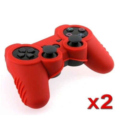TOOGOO(R) Red Soft Silicone Skin Case (2 Pack) Compatible with Sony PS3 Controller (Ps3 Controller Grip compare prices)