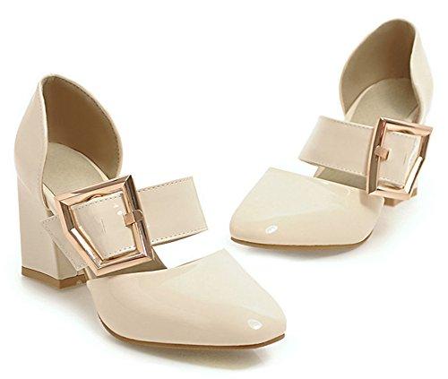 Aisun Femmes Boucle Sangle Robe Bout Carré Empilés Mi-talon Mode Slip Sur Pompes Chaussures Beige