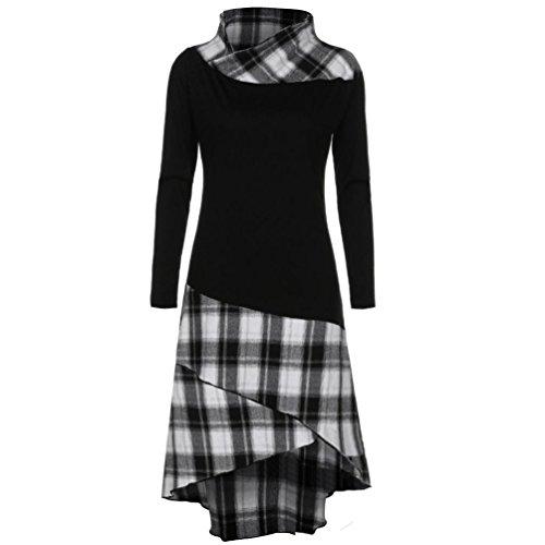 Clearance Women Tops COPPEN Women High Neck Plaid Pattern Patchwork Dress Long Sleeve Dress