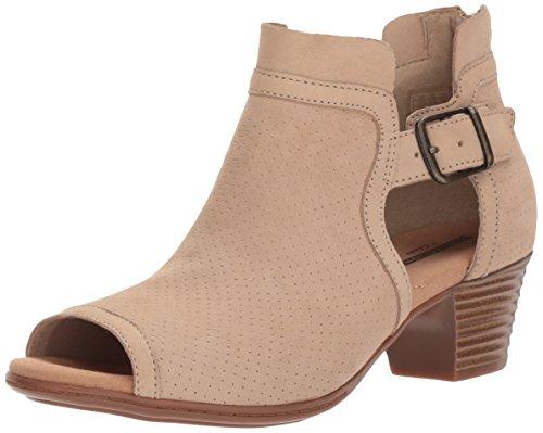 CLARKS Women's Valarie Kimble Heeled Sandal, Sand Nubuck, 7.5 Wide US