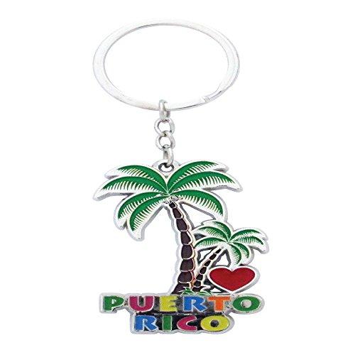 Key Chain Puerto Rico Gift Palm Tree Metal Keychain (Puerto Rico) ()