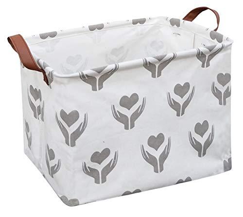 Sanjiaofen Rectangular Fabric Storage Bin,Collapsible Storage Basket,Waterproof Coating Toy Organizer with Handles,Gift…