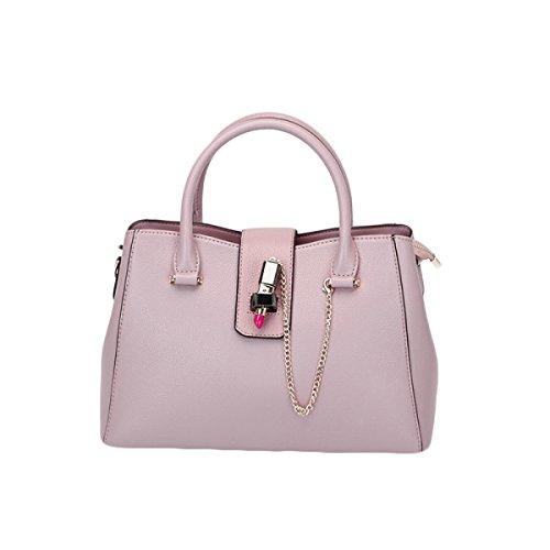 2018 Nuevo Bolso De Cuero Para Mujer De Europa Y El Bolso De Hombro De La Moda De Estados Unidos (rosa Gris Negro),Grey-33*13*21cm Pink