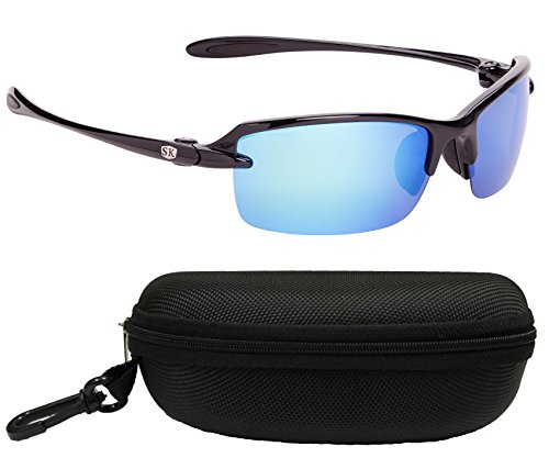 Strike King Plus SG-SKP311-CS Sabine Polarized Sunglasses Bundle, Shiny Black Frame with Multi Layer White/Blue Mirror Gray Base Lens, with Black Case