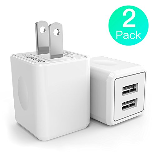 USB Wall Charger,Canyso 2Pack 2.1A/5V Dual Port USB Power Adapter Travel Plug Cube for iPhone X/8/7/6 Plus/SE/5S/4S,iPad,iPod,Samsung Galaxy S7/S6/S5 Edge,LG,HTC,Huawei,Moto,Kindle and (220 Usb)