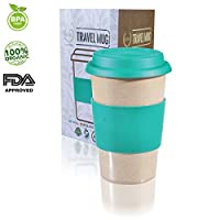 14oz 100% Organic Eco Friendly Reusable Travel Mug, To Go Takeaway Coffee Cup Sea Green, Biodegradable Material FDA Approved BPA Free, Leak Proof Silicone Lid & Heat Resistant Grip.Free Recipe ebook