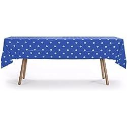 "5 PACK, 54"" x 108"" Royal Blue Polka Dot Rectangular Plastic Table Cover, Plastic Table Cloth Reusable (PEVA) (Polka Dot Royal Blue)"
