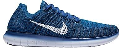 NIKE Men's Free RN Flyknit Running Shoes (Blue, 11.5)