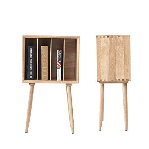 STURDY Solid Wood Bedside Table Book Cabinet Side Cabinet Magazine Storage Rack Living Room Sofa Side White Oak Shelf 452876 cm Elegant