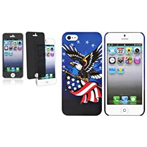Quaroth CommonByte US Flag & Eagle Rear Blue Rubber Hard Case Skin+Privacy Filter For iPhone 5 5G