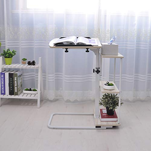 Jeash Moveable Over-Bed Table with Wheels, 3 Height Adjustable Sofa-Side Table, Rolling Medical Eating Tray Table, Portable Laptop Computer Desk, Movable Sofa Table [Ship from USA Directly] (White)